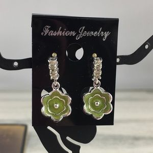 Green Enamel Daisy Flower Dangle & Drop Earrings